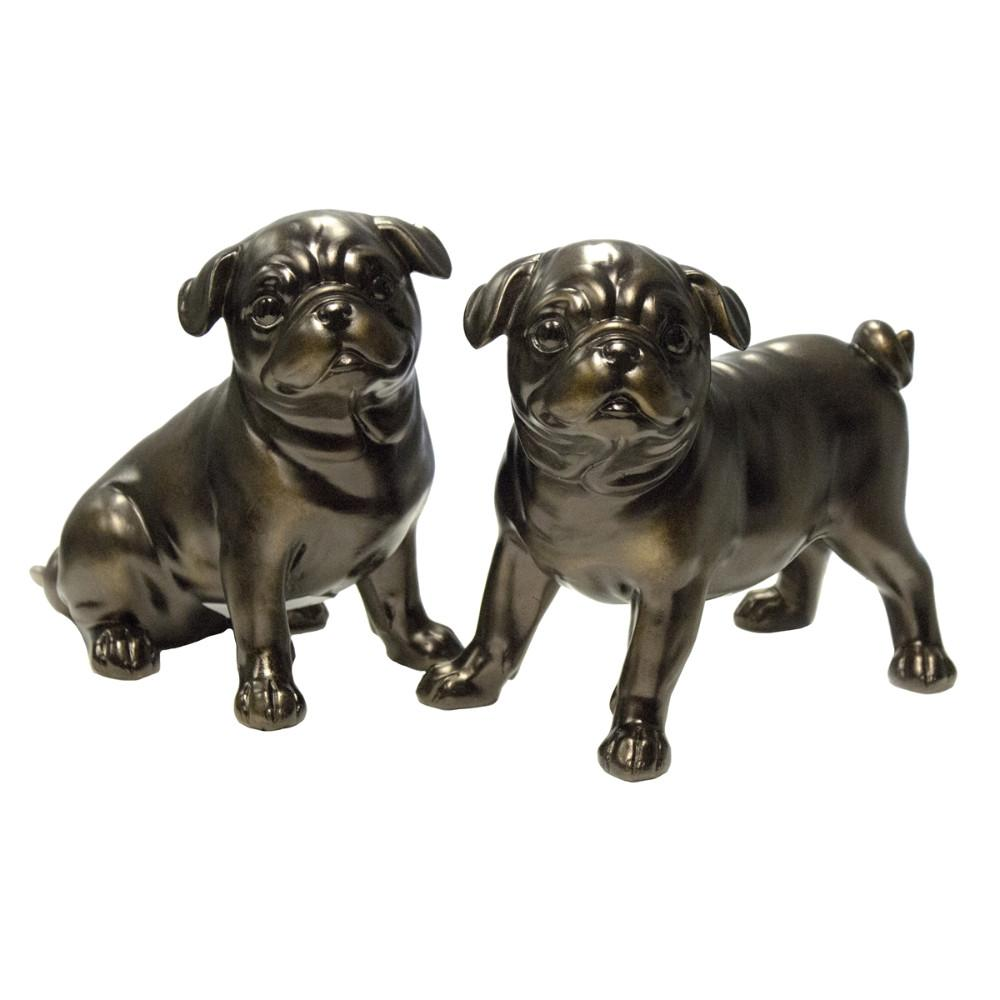 Striking Pug Dog Figurine - Copper, Assortment of 2