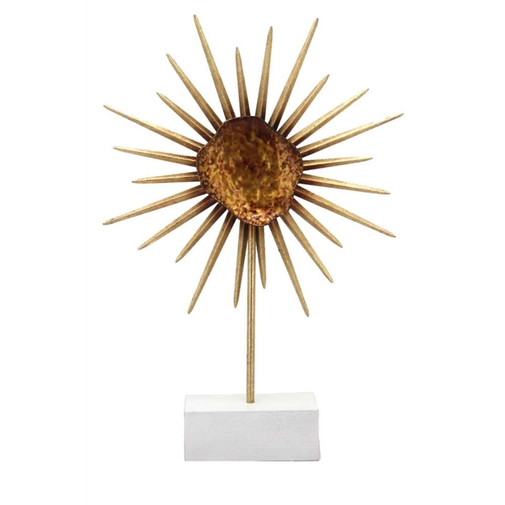 Metal Flower Sculpture On Stand, Copper