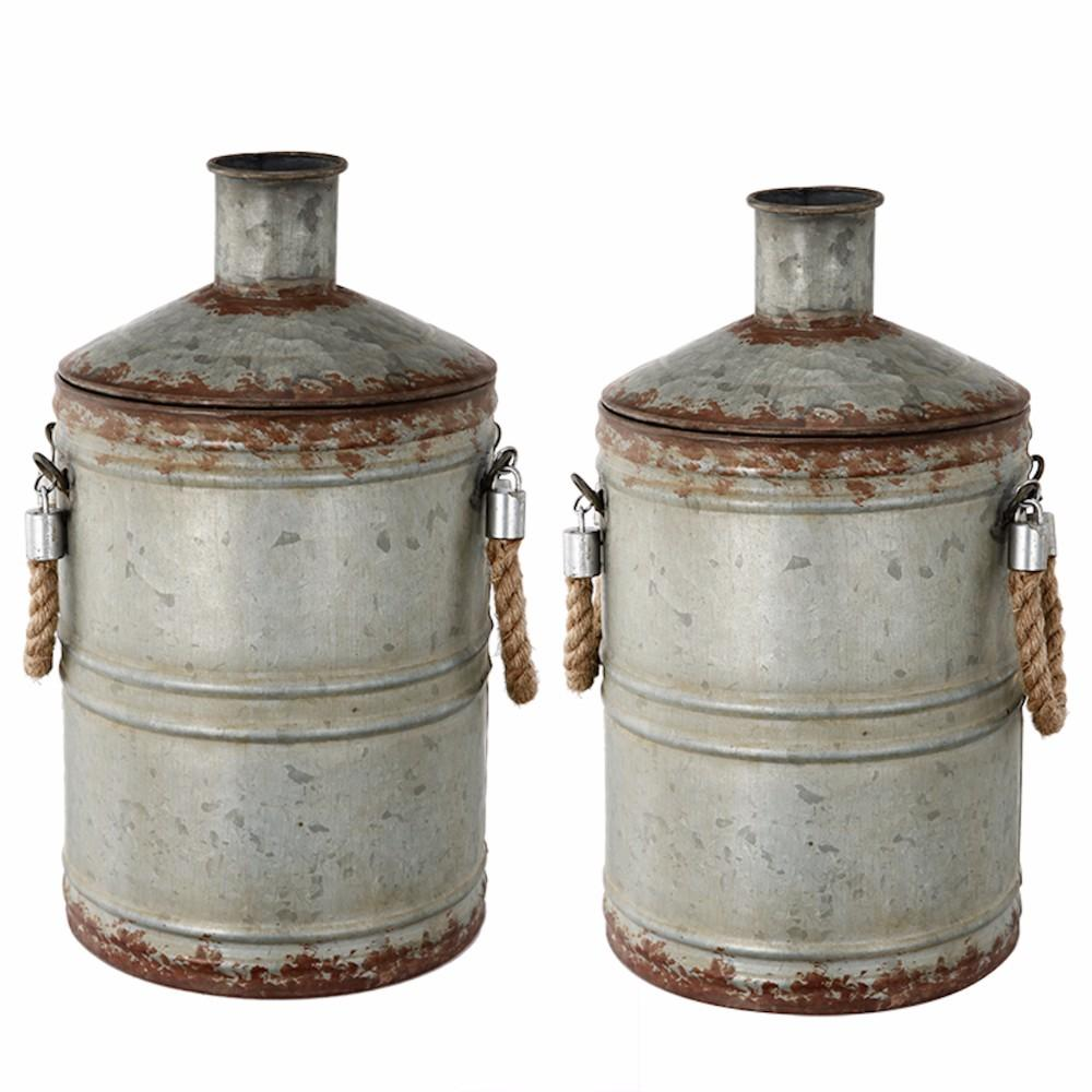 Old-Fangled Set of 2 Patchin Metal Jugs