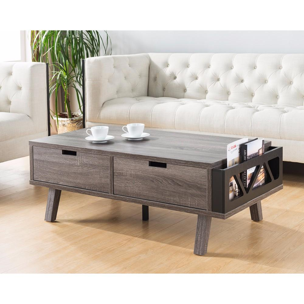 Coffee Table With Side Designed Magazine Holder, Gray