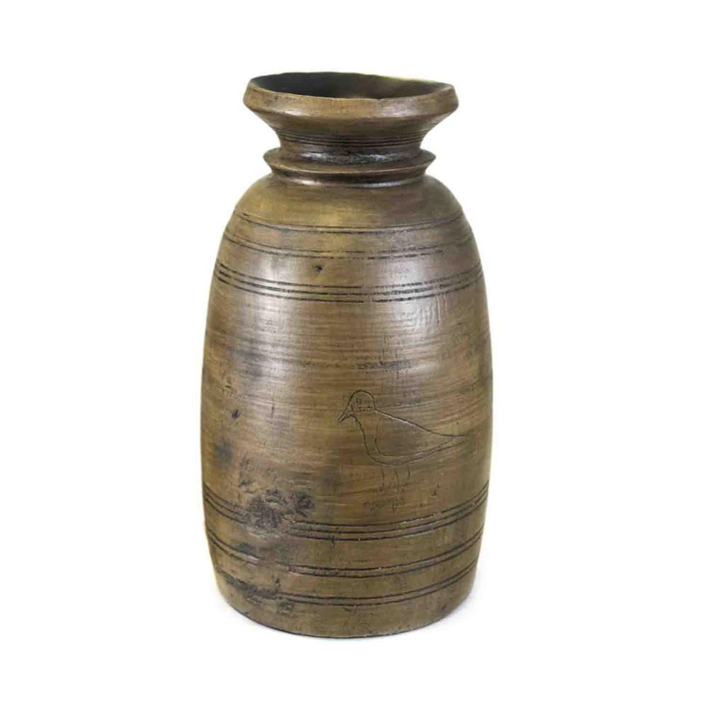Traditional Style Resin Vase, Brown