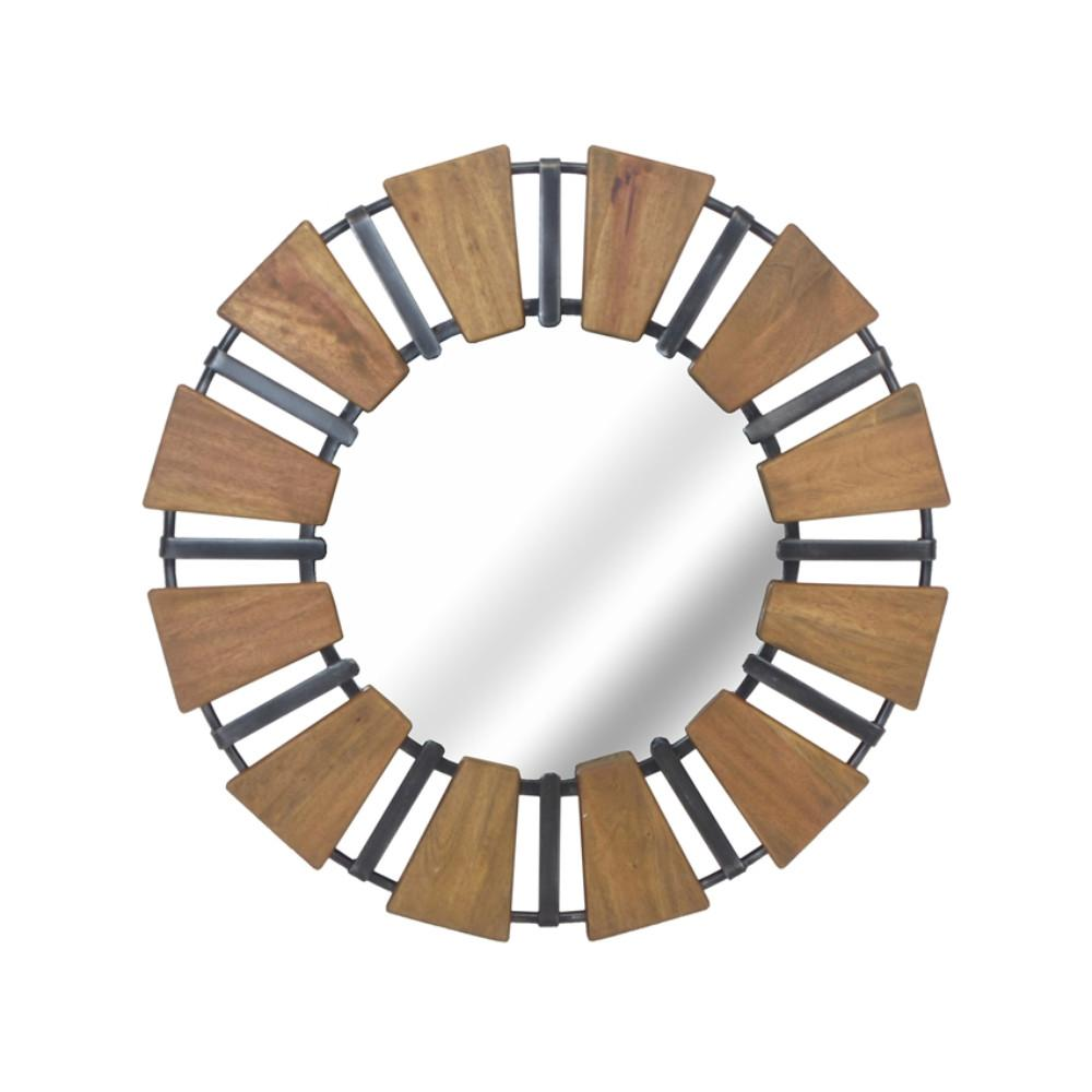 Contemporary Style Wood Mirror With Metal Accents, Brown