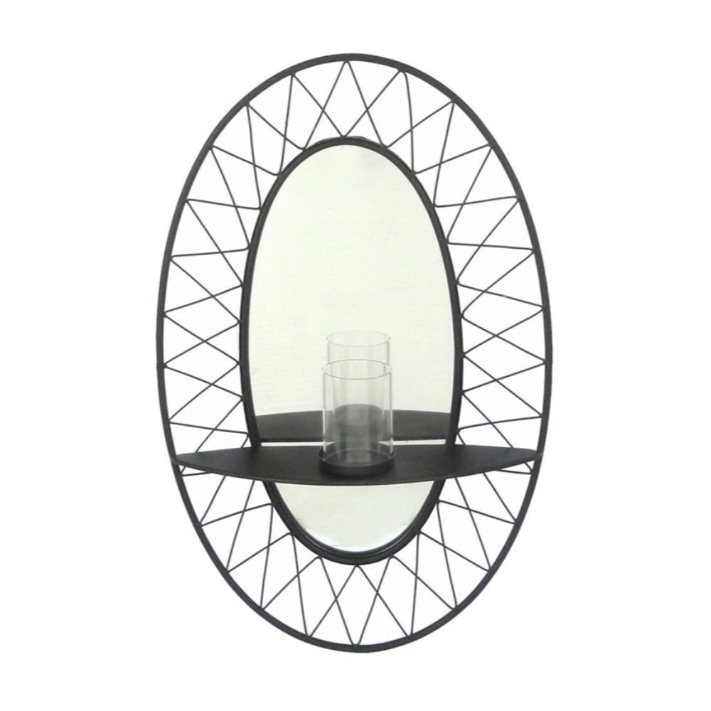Enhancting Mirror And Candle Holder Wall Decor