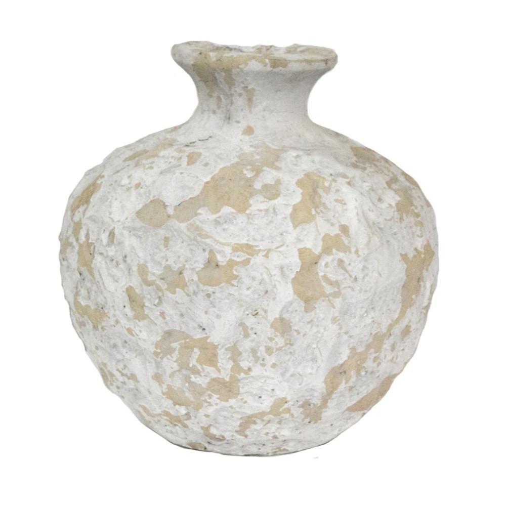 Traditional Style White Textured Vase