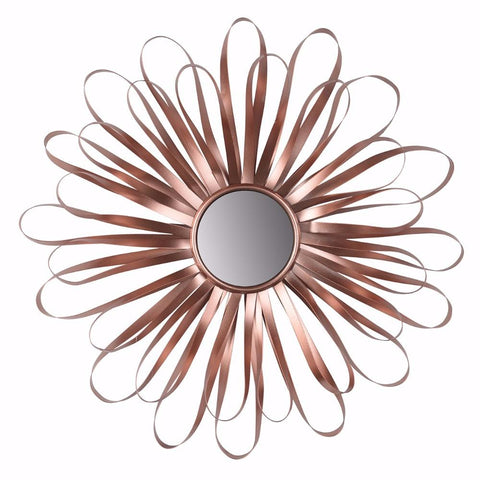 Rose Gold Mum Petals Round Wall Mirror