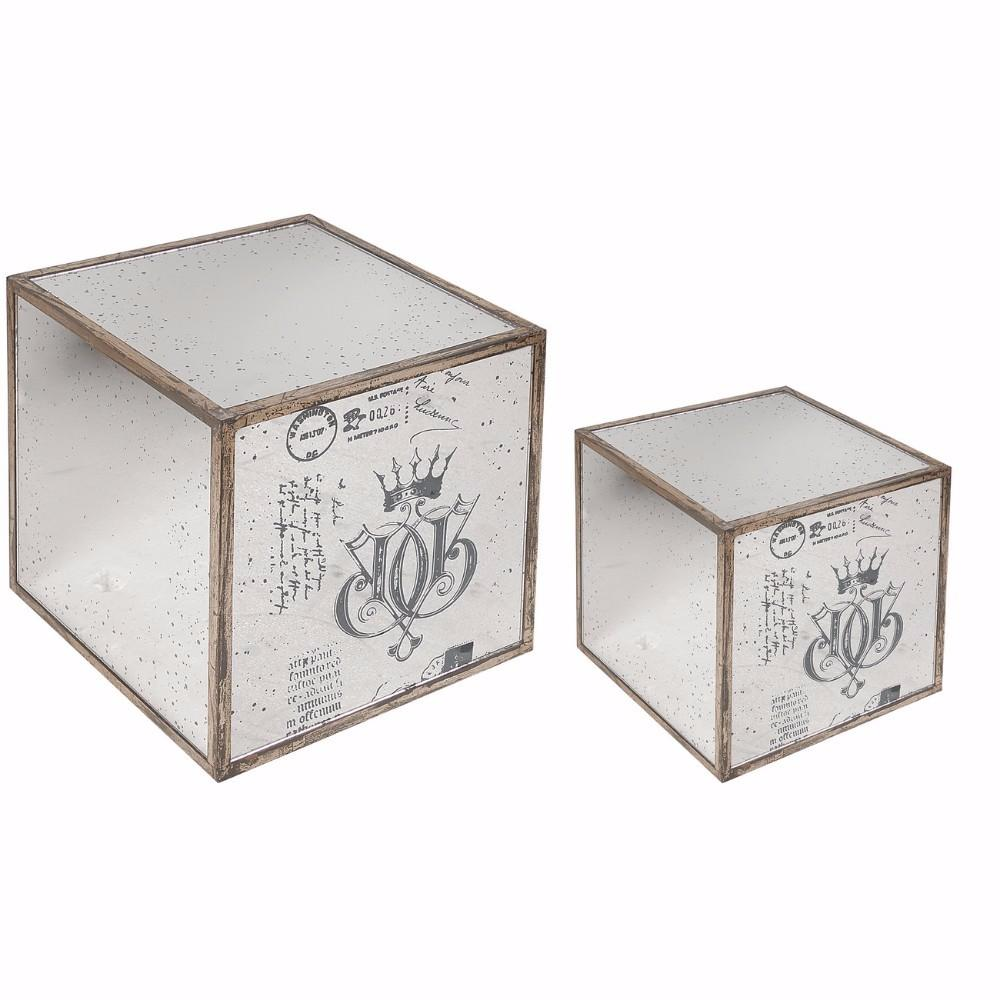 Set of 2 Ideal Marguerite Mirrored Table Cubes