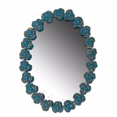 Mini Blue Roses Framed Oval Shaped Wall Mirror