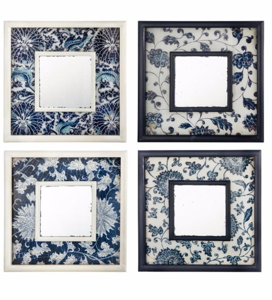 Floral Artistic Design Set of 4 Square Wall Mirrors For Sale Online