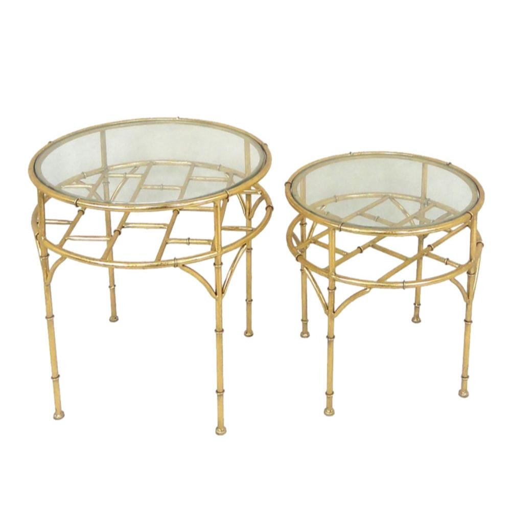 Classy 2 Piece Metal & Glass Accent Tables, Gold