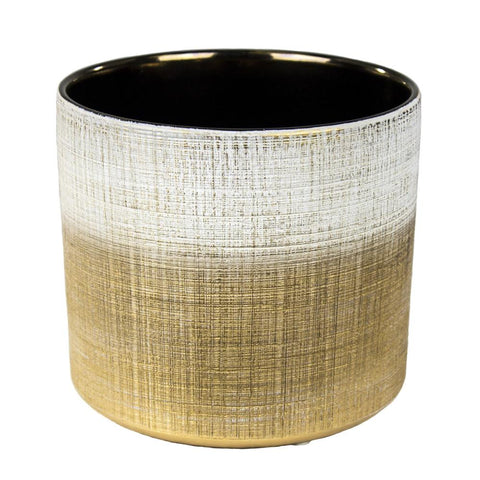 Marvelous Ceramic Pot, White & Gold