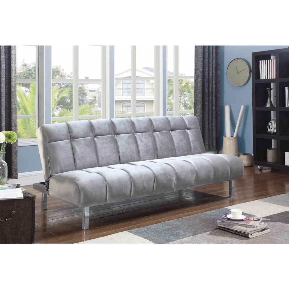 Adjustable Silver Velvet Modern Sofa Bed With Chrome Legs