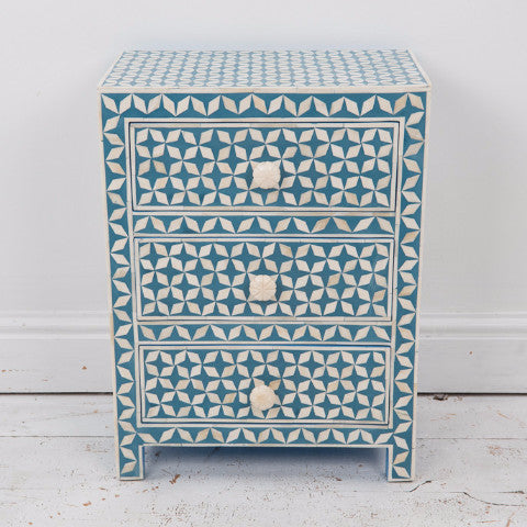 Fairtrade handmade wooden three drawer bedside cabinet