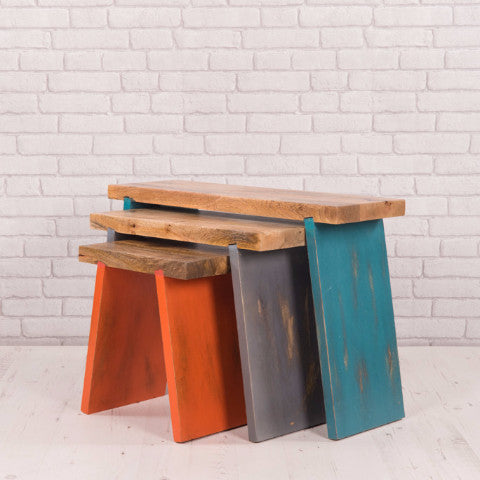 HANDMADE PAINTED WOODEN STOOLS