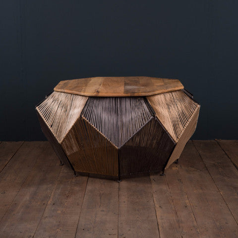IAN SNOW ETHICALLY SOURCED HANDMADE FAIRTRADE COTTON TWINE HEXAGONAL COFFEE  TABLE