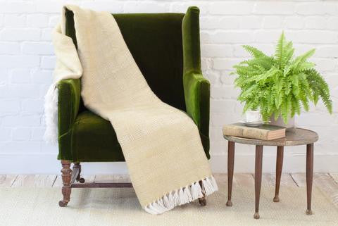 WEAVER GREEN Environmentally friendly ethically sourced homeware blanket or throw made from recycled material