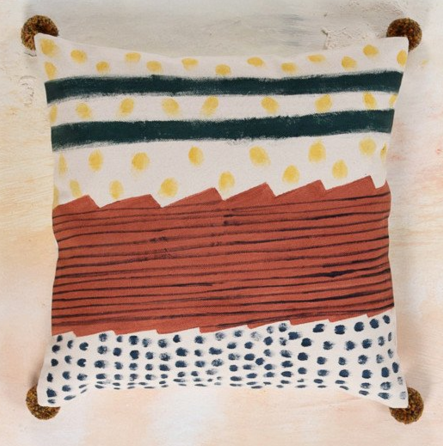 IAN SNOW ETHICALLY SOURCED HAND PAINTED FAIR TRADE CUSHION