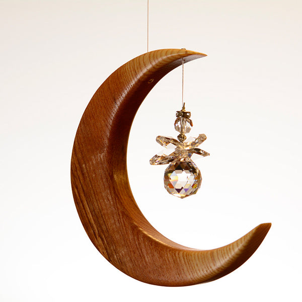 Medium Olive Ash Moon Suncatcher - ArtwoodIreland - 3