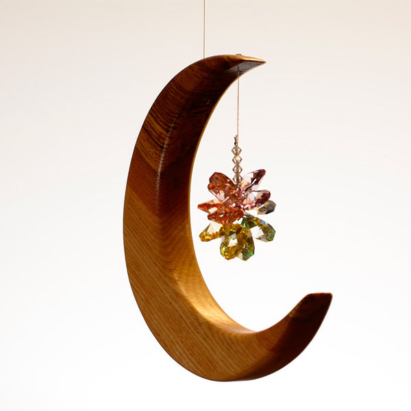 Medium Olive Ash Moon Suncatcher - ArtwoodIreland - 4