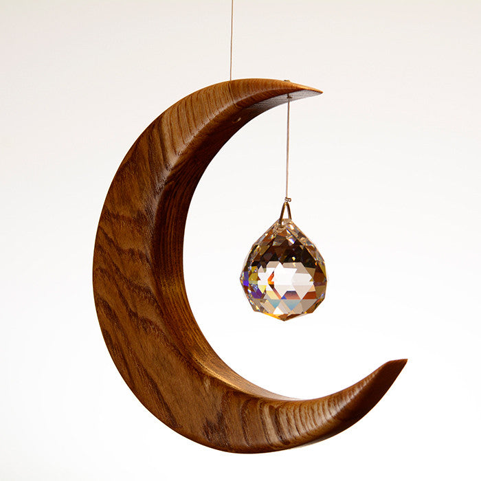 Medium Olive Ash Moon Suncatcher - ArtwoodIreland - 5