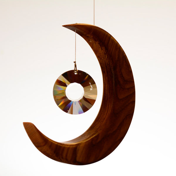 Medium Olive Ash Moon Suncatcher - ArtwoodIreland - 1