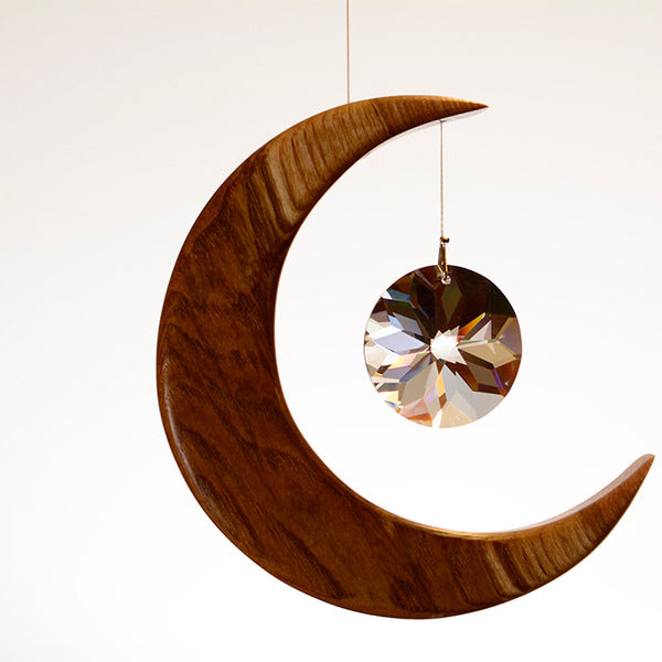 Medium Olive Ash Moon Suncatcher - ArtwoodIreland - 2