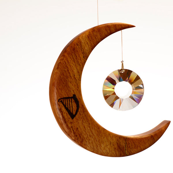 Medium Celtic Harp Moon Suncatcher - ArtwoodIreland - 2