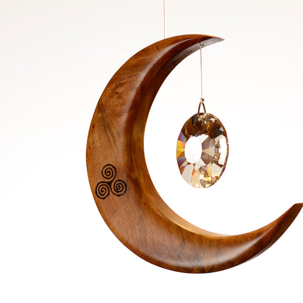 Medium Celtic Spiral Moon Suncatcher - ArtwoodIreland - 1