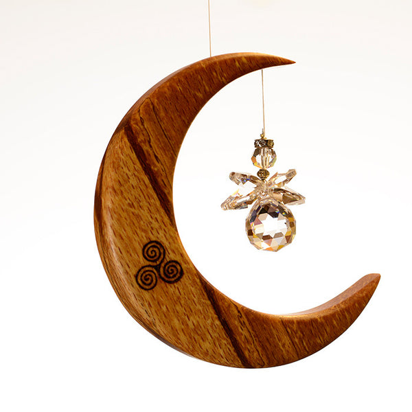 Medium Celtic Spiral Moon Suncatcher - ArtwoodIreland - 2