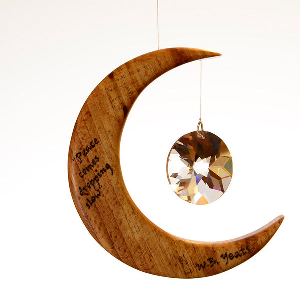 Yeats Quote from The Lake Isle of Innisfree on Moon Suncatcher