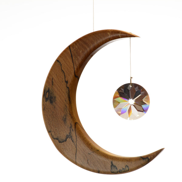 Large Spalted Beech Moon Suncatcher - ArtwoodIreland - 3