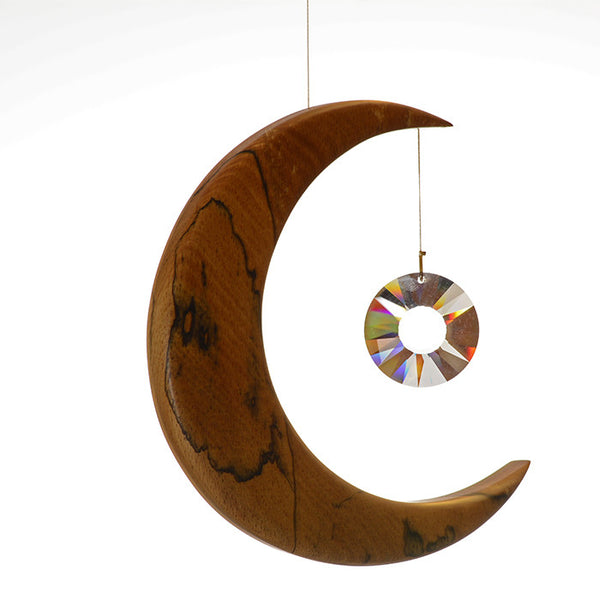 Large Spalted Beech Moon Suncatcher - ArtwoodIreland - 2
