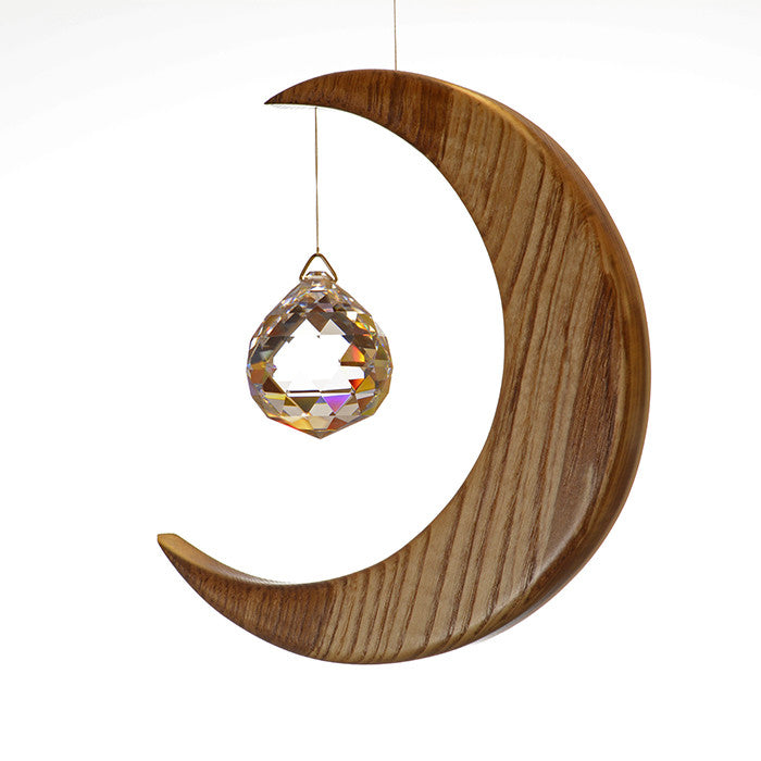 Large Olive Ash Moon Suncatcher - ArtwoodIreland - 3