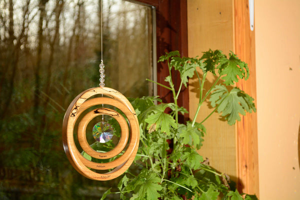 Personalised 3 Ring Spalted Beech Suncatcher