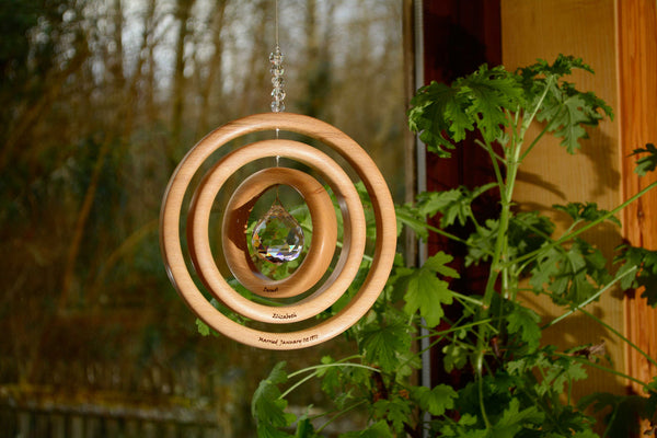 Personalised 3 Ring Beech Suncatcher