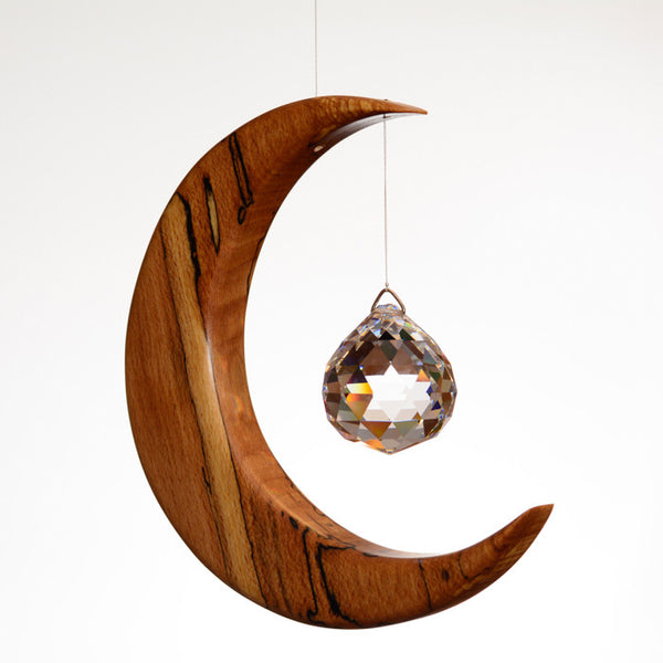 Large Spalted Beech Moon Suncatcher - ArtwoodIreland - 1