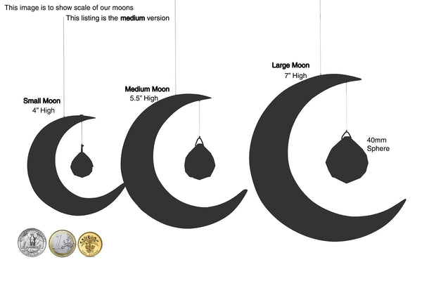Dimensions of Moon Suncatchers by Artwood Ireland
