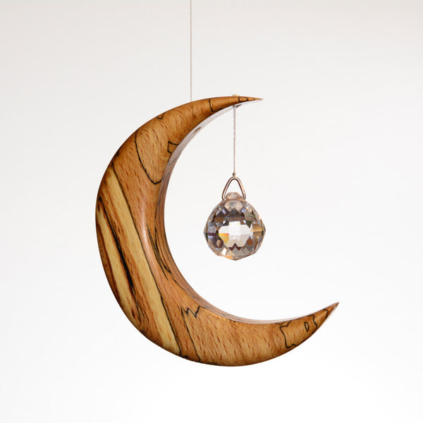 Small Spalted Beech Moon Suncatcher - ArtwoodIreland - 1