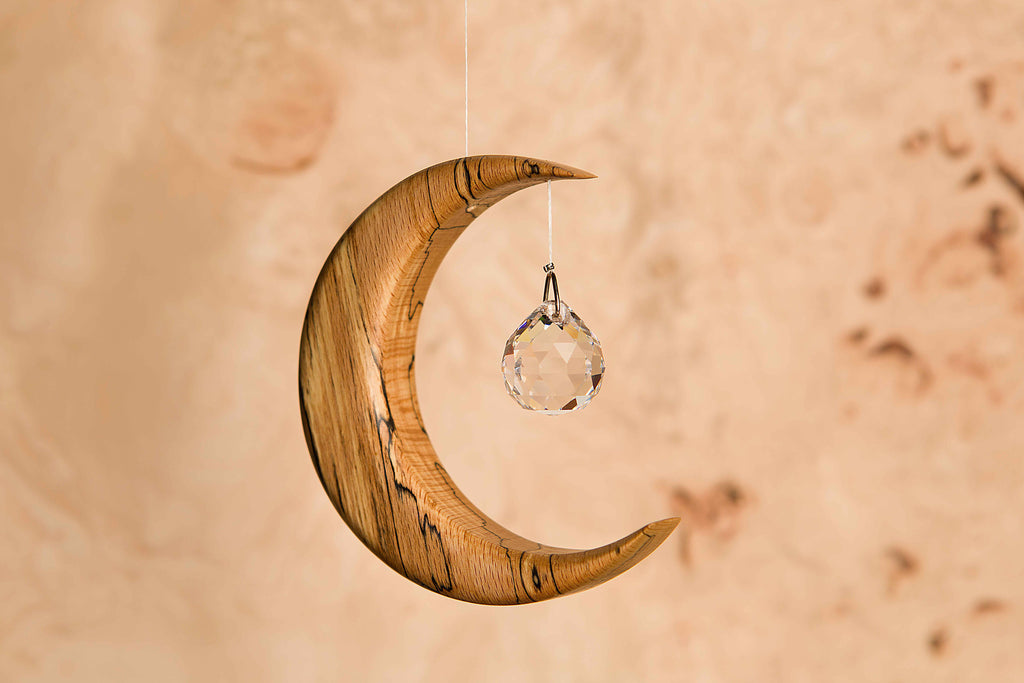 Small Spalted Beech Moon Suncatcher