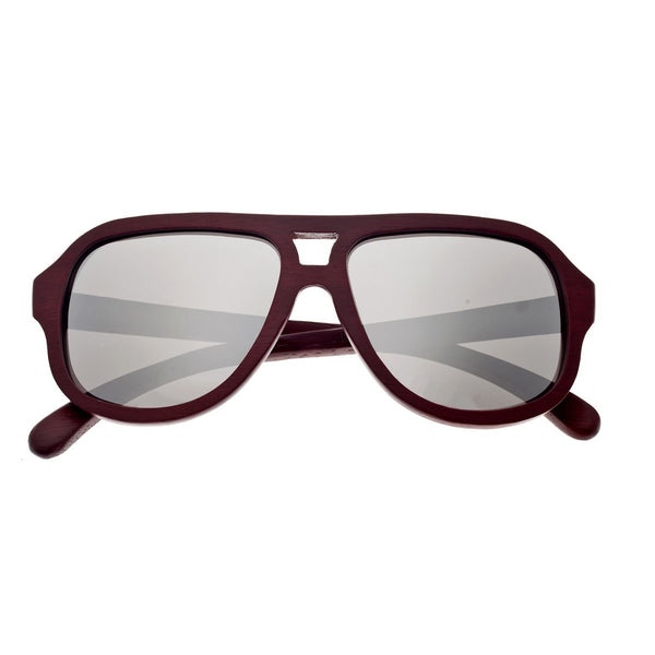 Earth Wood Cannon Sunglasses w/ Polarized Lenses - Red Rosewood/Silver