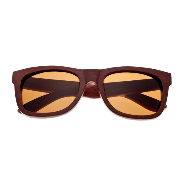 Earth Wood Panama Sunglasses w/ Polarized Lenses - Red Rosewood/Black