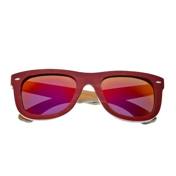 Earth Wood Malibu Sunglasses w/ Polarized Lenses - Red