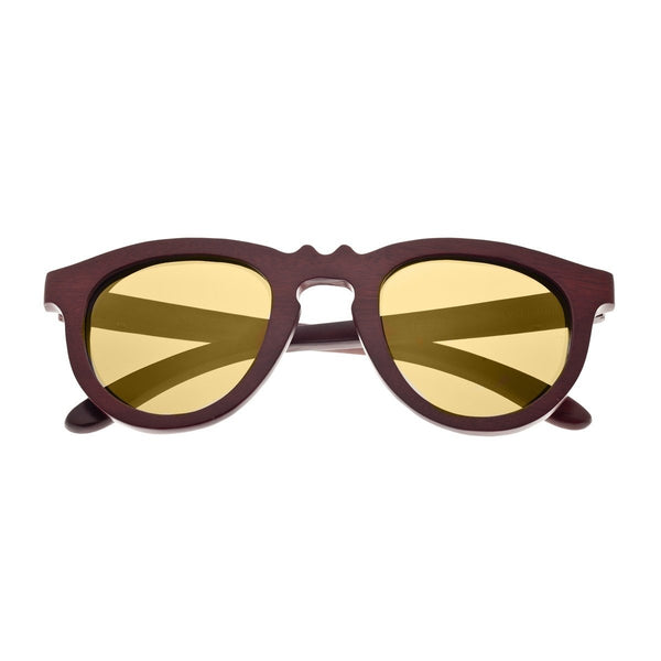 Earth Wood Venice Sunglasses w/ Polarized Lenses - Red Rosewood/Gold