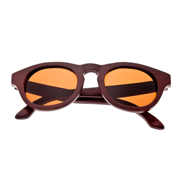 Earth Wood Cocoa Sunglasses w/ Polarized Lenses - Red Rosewood/Brown