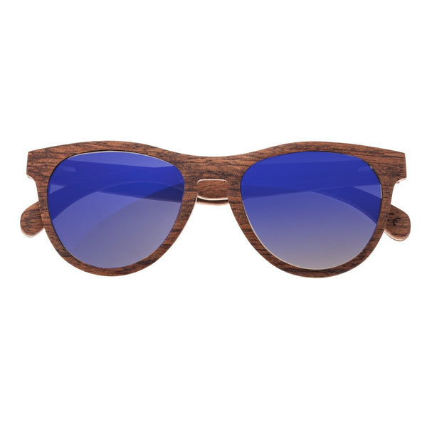 Earth Wood Del Carmen Sunglasses w/ Polarized Lenses - Red Rosewood/Purple-Blue