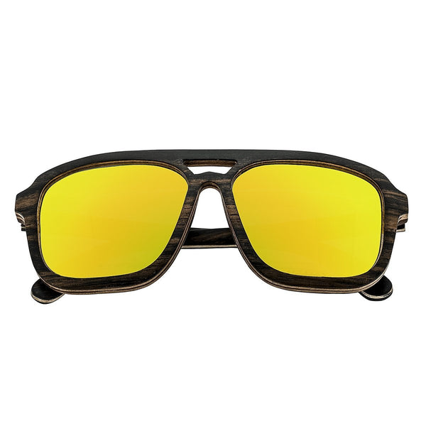 Earth Wood Playa Sunglasses w/ Polarized Lenses - Ebony & Maple/Yellow