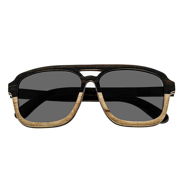 Earth Wood Playa Sunglasses w/ Polarized Lenses - Ebony & Zebrawood/Black