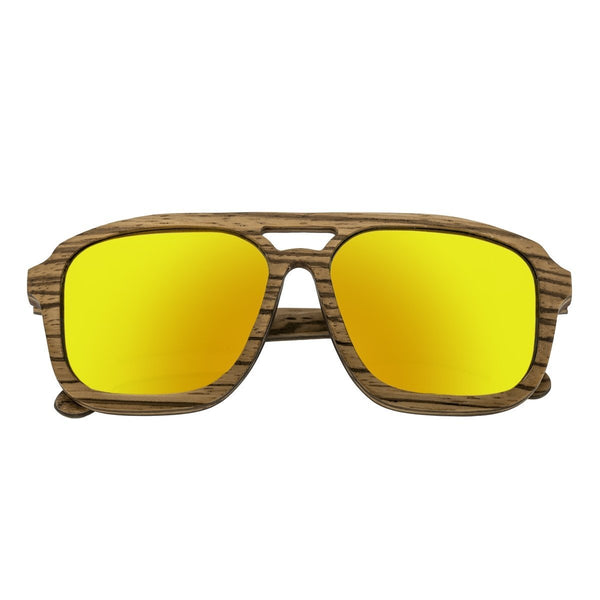 Earth Wood Playa Sunglasses w/ Polarized Lenses - Zebrawood/Yellow