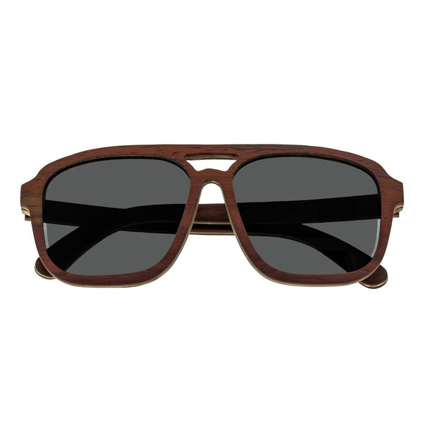 Earth Wood Playa Sunglasses w/ Polarized Lenses - Rosewood & Bamboo/Black