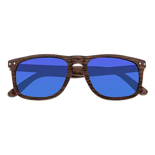 Earth Wood Pacific Sunglasses w/Polarized Lenses - Brown/Blue