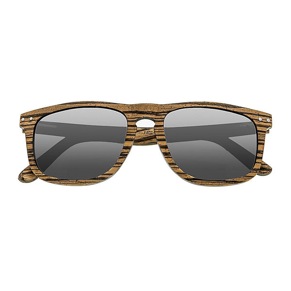 Earth Wood Pacific Sunglasses w/ Polarized Lenses - Zebrawood/Grey
